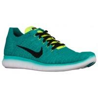 Nike Free Rn Flyknit Herren Trainingsschuhe Deutlich Jade/Volt/Rio Knickente/Schwarz