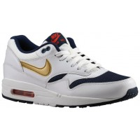 Nike Air Max 1 Essential Weiß/Metallic Gold/Midnacht Marine Herrenschuh