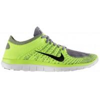 Nike Free 4.0 Flyknit Herren Running Schuhe Licht Holzkohle/Volt/Schwarz