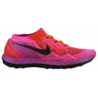 Nike Free 3.0 Flyknit Hyper Orange/Farbig Perle/Rosa Folie/Schwarz Damen Running Schuhe