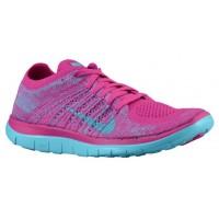 Nike Free 4.0 Flyknit Damen Trainingsschuhe Fuchsie Blitzen/Mittel Violett/Polarized Blau