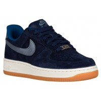 Nike Air Force 1 '07 Low Premium Suede Mitternachts Marine/Metallic Blau Damen Basketball