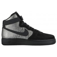Nike Air Force 1 High Premium Metallic Silber/Schwarz Damen Sneakers