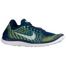 Nike Free 4.0 Flyknit 2015 Herren Schuhschaft Mutig Blau/Schwarz/Volt/Weiß