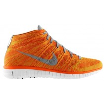 Nike Free Flyknit Chukka Gesamt Orange/Licht Base Grau/Volt/Weiß Herren Sneakers