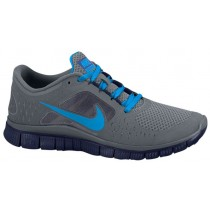 Nike Free Run + 3 Damen Sportschuhe Cool Grau/Blau Glühen/Nacht Blau