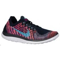 Nike Free 4.0 Flyknit Dunkel Obsidian/Farbig Perle/Hyper Orange/Copa Damen Sportschuhe