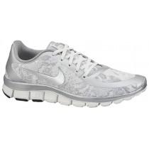 Nike Free 5.0 V4 Metallic Silber/Summit Weiß Damen Laufschuhe