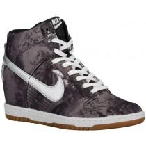 Nike Dunk Sky Hi Print/Wedge Damen Trainingsschuhe Schwarz/Volt/Gum Med Braun/Met Silber