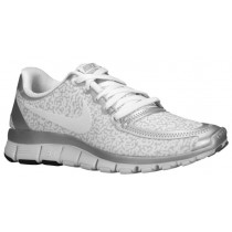Nike Free 5.0 V4 Weiß/Metallic Silber/Rein Platin Damen Runningschuh