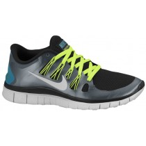 Nike Free 5.0+ Schwarz/Rein Platin/Metallic Dunkel Grau Damen Runningschuh