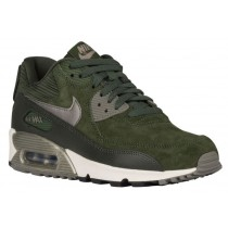 Nike Air Max 90 Leather Damen Sneakers Kohlenstoff Grün/Metallic Zinn/Geschwader Blau/Sail