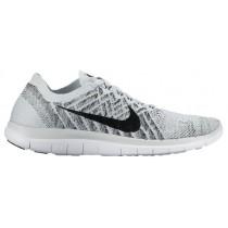 Nike Free 4.0 Flyknit Rein Platin/Schwarz/Weiß Damen Running Schuhe