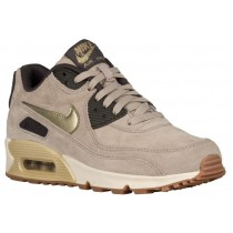 Nike Air Max 90 Premium Suede Damen Sneakers String/Metallic Gold Grün/Dunkel Sturm/Silber