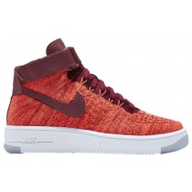 Damen Nike Air Force 1 Hi Flyknit Gesamt Crimson/Team Rot Sneakers
