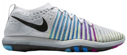Nike Free Transform Flyknit Rein Platin/Schwarz/Chlorine Blau/Farbig Perle Damen Fitnessschuhe