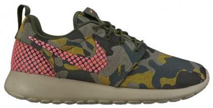 Nike Roshe One Premium Plus Damen Laufschuhe Schwarz/Hot Lava/Kohlenstoff Grün/Wüste Camo