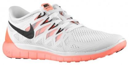 Nike Free 5.0 2014 Damen Laufschuhe Weiß/Schwarz/Hell Mango/Rein Platin