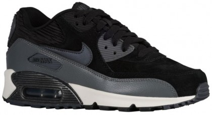 Nike Air Max 90 Leather Damen Sneakers Schwarz/Metallic Hämatit/Dunkel Grau