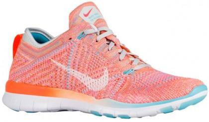 Nike Free Tr 5 Flyknit Gesamt Orange/Weiß/Gamma Blau/Rein Platin Damen Sneakers