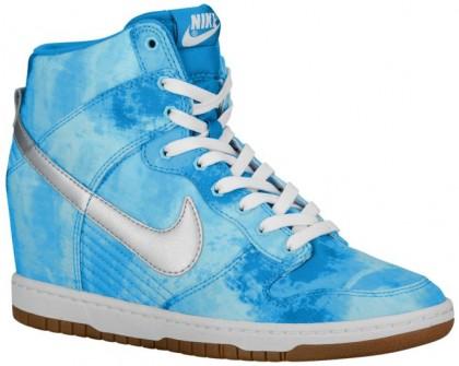 Nike Dunk Sky Hi Print/Wedge Damen Turnschuhe Deutlichwater/Lt Blau Lackierung/Blitzen Hellgrün/Met Silber