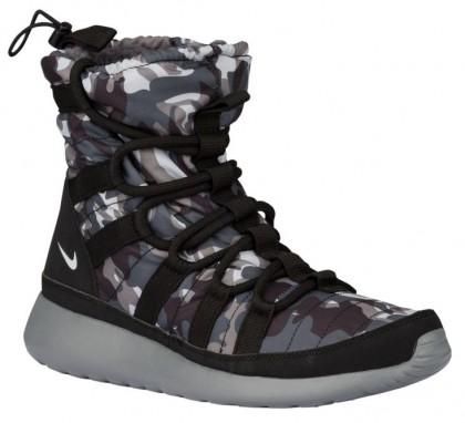 Nike Roshe One Hi Print Winterized Sneakerboot Schwarz/Rein Platin/Cool Grau/Dunkel Grau Damen Sneakers